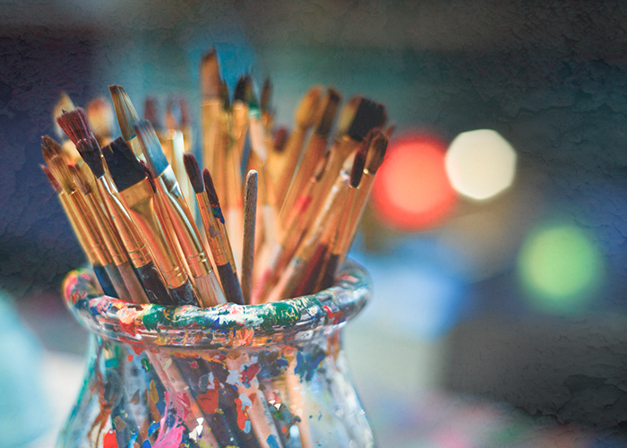 Brushes of a person whose hobby is painting